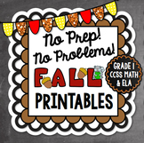 Fall NO PREP Math and Literacy Printables {First Grade}