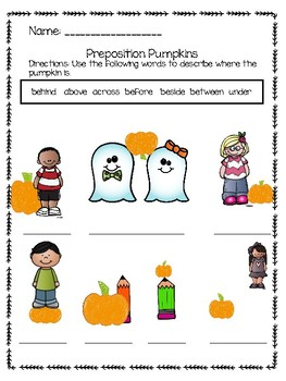FREEBIE- Pumpkin Preposition and Autumn Adjective Worksheets