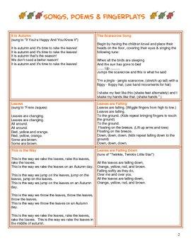 Fall Preschool / Kindergarten Curriculum