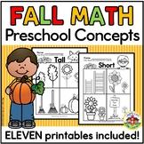 Fall Math Concepts Worksheets for Preschool