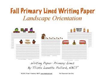 fall writing paper primary lines landscape and portrait