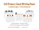 Fall Writing Paper: Primary Lines (Landscape Orientation)