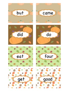 Fall Primer Sight Word Concentration