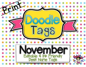 Fall Print Doodle Tags Bundle - Ink Friendly Editable Desk Name Tags