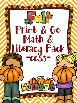 Fall Print & Go Math and Literacy Printables (CCSS) - FREE Printables in Preview