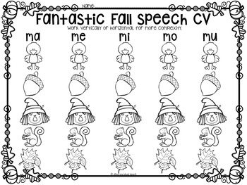 Fantastic Fall No-Prep Apraxia