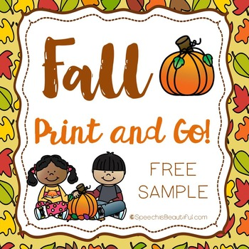 """Fall Print and Go Articulation """"S"""" SOUND LEVEL PRINTABLE - {FREE SAMPLE}"""