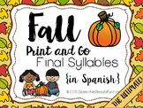 Fall Print and Go Articulation Spanish Final Syllables - S N L R D {SPANISH}