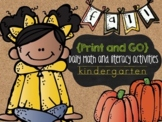 Fall Print and Go {Literacy & Math} Kindergarten Activities