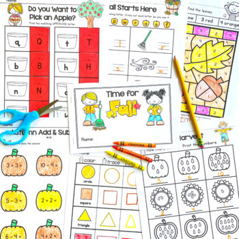 Fall Activities - Copy & Go Fall Math and Literacy Printable Pack