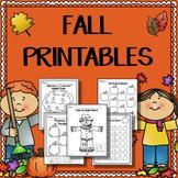 Fall Worksheets for Kindergarten