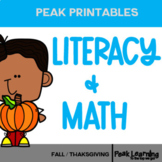 Fall/Thanksgiving Themed: Math, Reading Comprehension & Literacy Activities