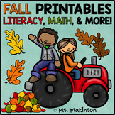 Fall Printables - Literacy, Math, & Science