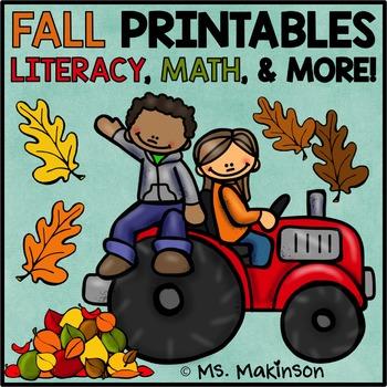 Fall Printables - Literacy, Math, & Science