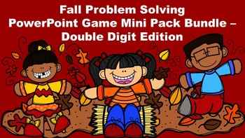 Fall Problem Solving PowerPoint Game Mini Pack - Double Digit Edition
