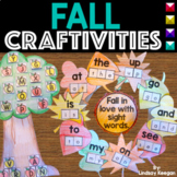 Fall Activities Kindergarten - Sight Words, Letter Sounds and Numbers Crafts