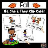 Fall Pronoun He, She, They Clip Cards