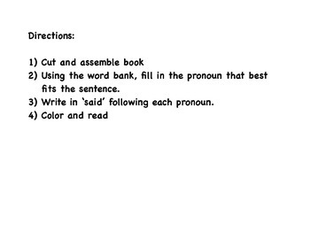 Fall Pronoun book featuring sight word said