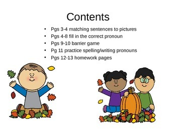 Fall Pronouns Activity Pack