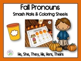 Fall Pronouns Smash Mats & Coloring Sheets