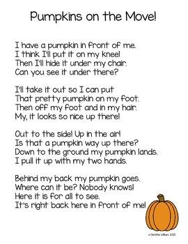 Fall Pumpkin Action Chants - Prepositions / Positional Words