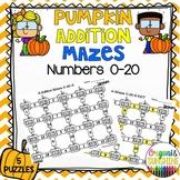 Fall Pumpkin Addition Math Maze 0-20 (PRINT &GO) Math center
