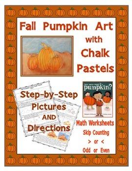 Fall Pumpkin Chalk Art PLUS Math Worksheets for Elementary Students