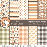 Fall Pumpkin Digital Scrapbook Papers for Halloween and Th