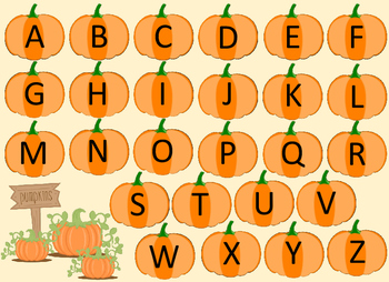 Fall Pumpkin File Folder Alphabet Game