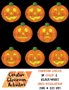 Fall Pumpkin / Halloween Emojis Clip Art