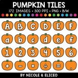 Fall Pumpkin Letter and Number Tiles Clipart