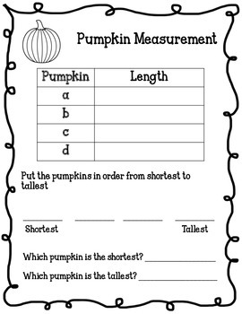 Fall Pumpkin Measuring Activity