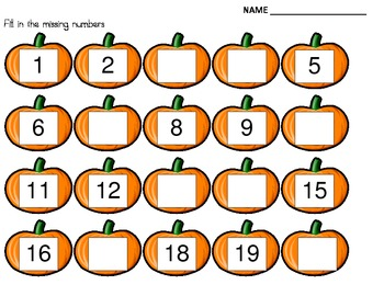 Fall Pumpkin Missing Numbers 1-20