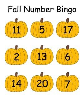 Fall Pumpkin Number Bingo