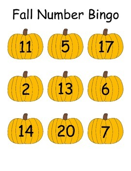 Fall Pumpkin Number Bingo