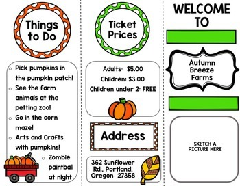 Fall Pumpkin Patch and Apple Orchard Brochure {100% Editable} {Writing}