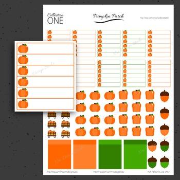Fall Pumpkin Stickers - Printable Planner Stickers, Teacher Planner