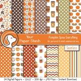 Fall Pumpkin Spice Digital Scrapbook Papers & Backgrounds,