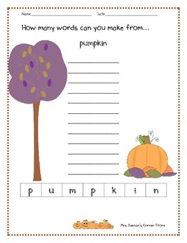 Fall Pumpkin Theme Making Words Activity