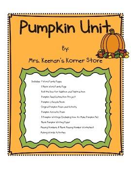 Fall Pumpkin Theme Literature and Math Unit