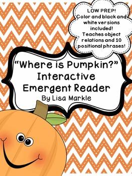 Fall Pumpkin Interactive Emergent Reader for Preschool and Kindergarten