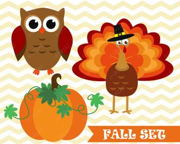 Fall Pumpkin, Turkey and Owl Clipart SVG Cut files