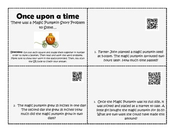 Fall Pumpkin Word Problems with QR Code Checker