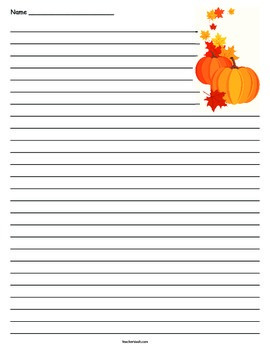 Fall Pumpkin and Leaves Lined Paper