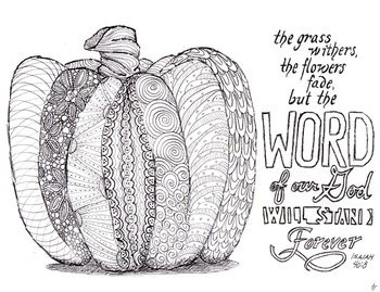 Fall Pumpkin and Scripture Adult Coloring Page