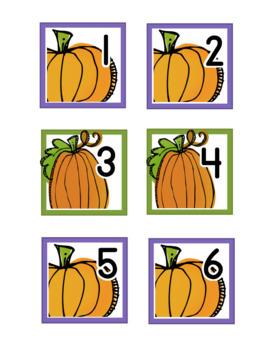 Fall Pumpkins Calendar Numbers