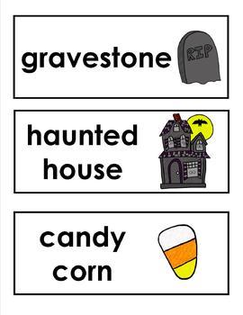 Fall, Pumpkins, Halloween Word Wall Cards