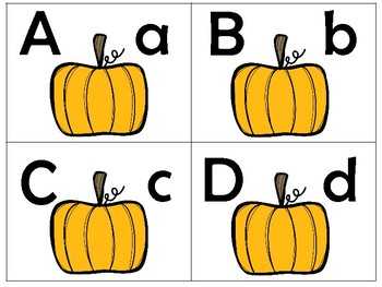 Fall Pumpkins/Uppercase to lowercase match puzzles