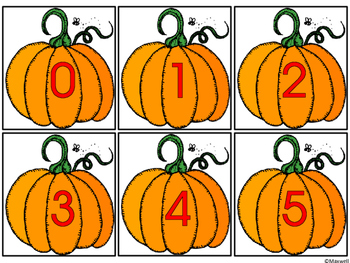 Fall Pumpkins and Leaves Number Matching Color or Black & White