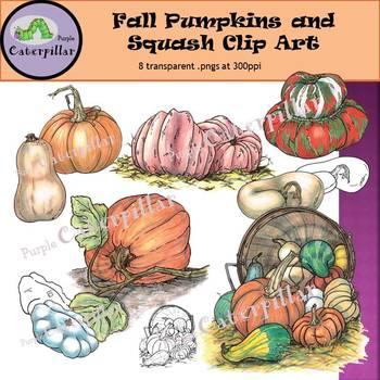 Fall Pumpkins and Squash Clip Art